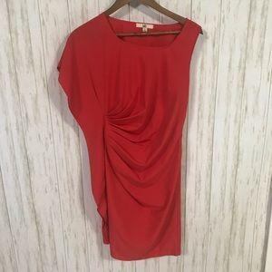 Ya ruffled sheath dress red orange Large